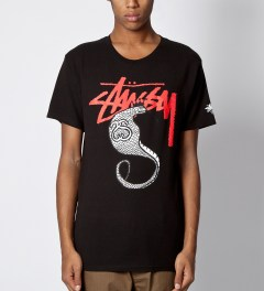 Stussy Black Stocksnake T-Shirt Model Picutre
