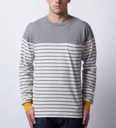 CASH CA Oatmeal Panel Border L/S T-Shirt Model Picutre