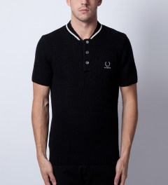 Raf Simons x Fred Perry Black Knitted Bomber Neck FP Polo Model Picutre