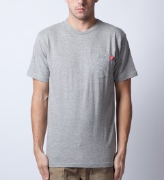 Stussy Grey Heather Stars Pocket T-Shirt  Model Picutre