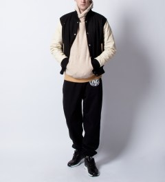 MKI BLACK Black/Off White Classic Varsity Jacket Model Picutre