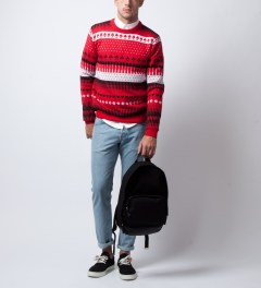Opening Ceremony Red Gameboard Jacquard Crewneck Model Picutre