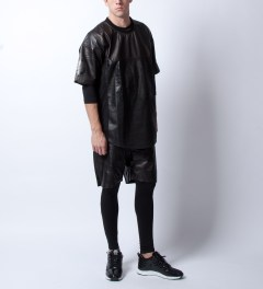 Stampd Stampd x En Noir Black Leather Jersey Shirt Model Picutre