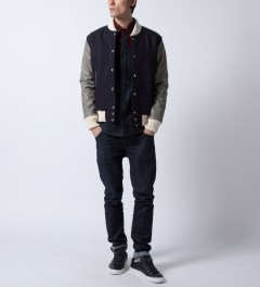 MKI BLACK Navy/Grey Classic Varsity Jacket  Model Picutre