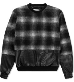 clothsurgeon Black Wool/Leather Split Sweater  Picutre