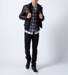 HSTRY x Grungy Gentleman Black HSTRY x Grungy Gentleman Denim Style Jacket  Model Picutre