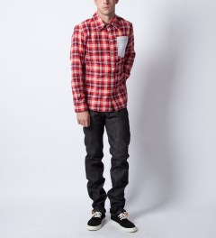 HSTRY x Grungy Gentleman Red/White Flannel Shirt  Model Picutre
