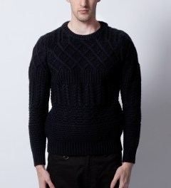KRISVANASSCHE Black Multilayered Roundneck Sweater  Model Picutre
