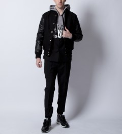 MKI BLACK Black/Black Classic Varsity Jacket Model Picutre