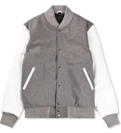 MKI BLACK Grey/White Classic Varsity Jacket Picutre
