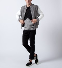MKI BLACK Grey/White Classic Varsity Jacket Model Picutre