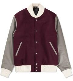 MKI BLACK Burgundy/Grey Classic Varsity Jacket  Picutre