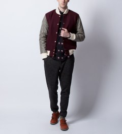 MKI BLACK Burgundy/Grey Classic Varsity Jacket  Model Picutre