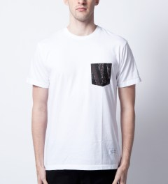 Raised by Wolves White Tigerstripe Pocket T-Shirt  Model Picutre