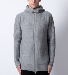 SILENT Damir Doma Grey Kaio MNS Knit Hoodie  Model Picutre