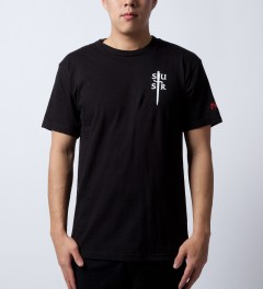 SSUR Black Deus T-Shirt  Model Picutre