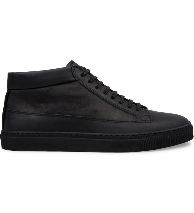 All Black Waxed Nubuck Mid Top Shoe