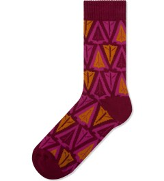 Benny Gold Red Ikat Arrowhead Socks Picutre