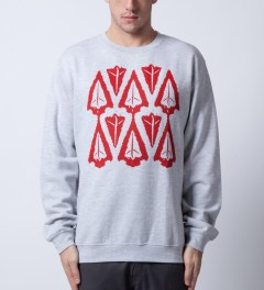 Benny Gold Grey Ikat Arrowhead Crewneck  Model Picutre