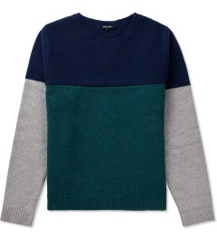 CASH CA Navy/Green/Grey 3 Tone Color Sweater  Picutre