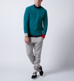 Liful Blue E.F Colorblock Lambswool Knit  Model Picutre