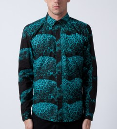Mishka Cool Aqua Rio Button-Up Poplin Shirt  Model Picutre