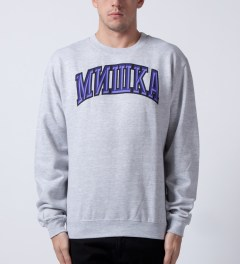 Mishka Athletic Heather Cyrillic Varsity II Crewneck  Model Picutre