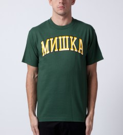 Mishka Hunter Green Cyrillic Varsity II T-Shirt  Model Picutre
