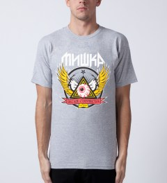 Mishka Grey 10 Year Keep Watch Crest T-Shirt Model Picutre