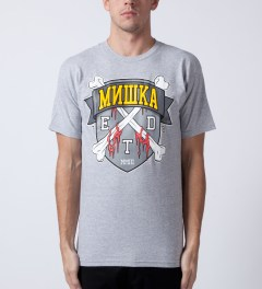 Mishka Grey 10 Year ETD Crest T-Shirt Model Picutre