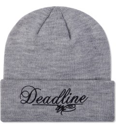 SSUR SSUR X DEADLINE Heather Script Logo Beanie  Model Picutre