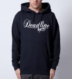 SSUR SSUR x Deadline Navy Script Logo Hoodie  Model Picutre