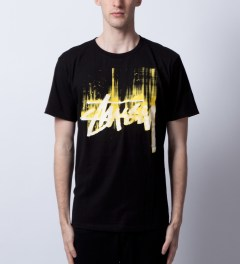 Stussy Black/Yellow Stock Paint T-Shirt Model Picutre