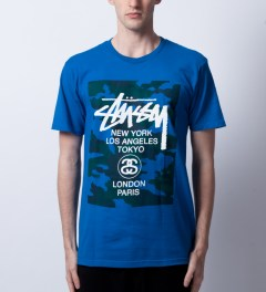 Stussy Blue WT Camo Block T-Shirt Model Picutre