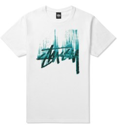 Stussy White/Green Stock Paint T-Shirt Picutre