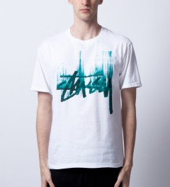Stussy White/Green Stock Paint T-Shirt Model Picutre