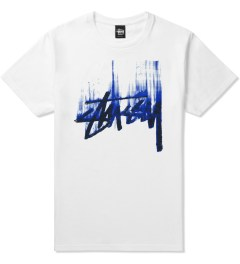 Stussy White/Blue Stock Paint T-Shirt Picutre