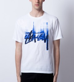 Stussy White/Blue Stock Paint T-Shirt Model Picutre