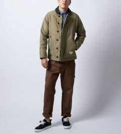 "Bedwin & The Heartbreakers Olive ""Asylum"" N-1 Deck Jacket  Model Picutre"