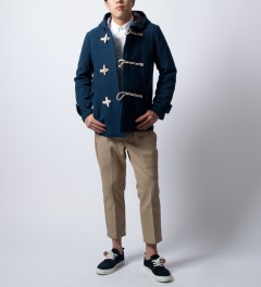 "Bedwin & The Heartbreakers Navy ""Jannis"" Duffle Coat Model Picutre"