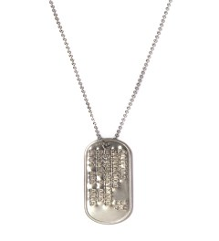 "Bedwin & The Heartbreakers Silver ""Donaldson"" Dog Tag Necklace  Model Picutre"