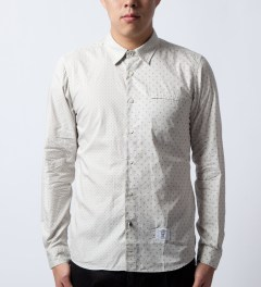 "Bedwin & The Heartbreakers Grey ""Tailor"" L/S OG Dot Board Shirt Model Picutre"