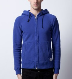 "Bedwin & The Heartbreakers Navy ""Anthony"" L/S Zip -Up Hoodie  Model Picutre"