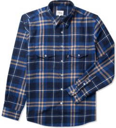 DQM Blue Steamer Plaid Cotton Flannel Shirt  Picutre
