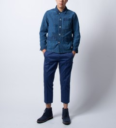 "Deluxe Indigo Denim ""Gitanes"" Jacket Model Picutre"