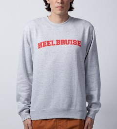 Heel Bruise Heather Grey College Arc Sweater   Model Picutre