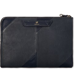 POSTALCO Elephant Blue Pebble Deerskin Zipper Envelope  Picutre