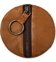POSTALCO Ochre Brown Pebble Deerskin Leather Coin Case  Model Picutre
