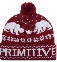 Primitive Burgundy Jolly Bear Pom Beanie  Picutre