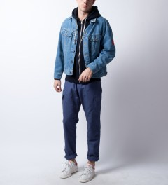 Reigning Champ Navy RC-3205 Midweight Twill French Terry Zip Hoodie  Model Picutre